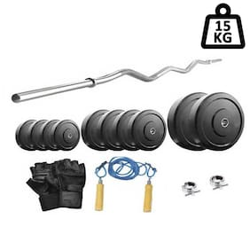 Protoner 15 kg With 3 ft Curl Rod Home Gym Package For Beginners-Multicolor
