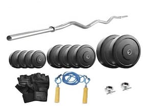 Protoner 18 kg With 3 ft Curl Rod Home Gym Package Beginners-Multicolor