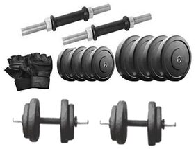 Protoner 20 Kg Rubber Dumbells Sets Rubber Plates + Dumbells Rods + Leather Gym