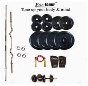 Protoner 20 Kg Weight Lifting With Straight Rod And Home Gym Accessories
