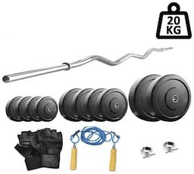 Protoner 20 kg With 3 ft Curl Rod Home Gym Package For Beginners-Multicolor