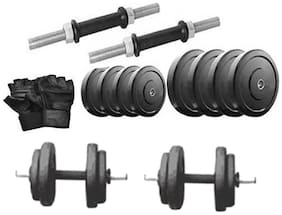 Protoner 25 Kg Rubber Dumbells Sets Rubber Plates + Dumbells Rods + Leather Gym Glove