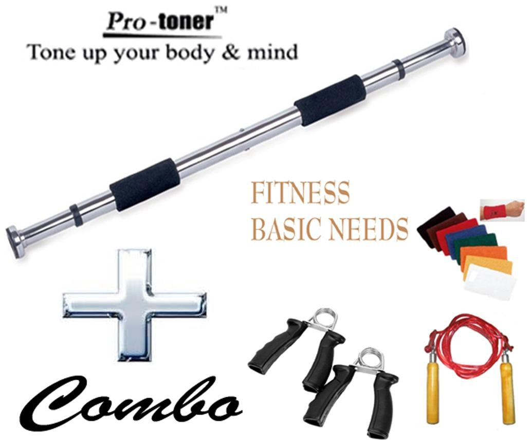 Protoner Door Bar/Hand Grip With Jump Rope And Wristband Assorted by Sports Hubb