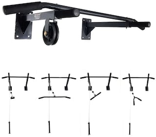 Protoner Dynamic Wall Mounting Chin up Bar with Lats Pully & multiple accessories
