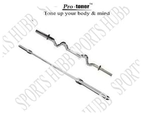 Protoner Weight Lifting Rod 1 X 5 ft Straight 1 X 3 ft Curled With Locks