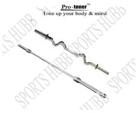 Protoner Weight Lifting Rod 1 X 5 Feet Straight 1 X 3 Feet Curled With Locks