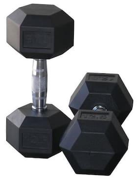 5abdc52ea2e Protoner Weight Lifting Hex Rubber Dumbells (5 Kg X 2)