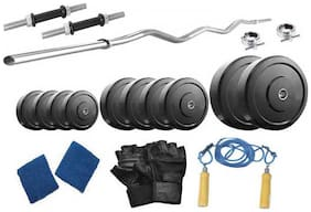 Protoner Weight Lifting Home Gym 25 Kg + 3 Rods (1 Curl)+ Gloves+ W. Band