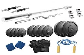 Protoner Weight Lifting Home Gym 32 Kg + 4 Rods (1 Curl)+ Gloves+ Rope+W. Band