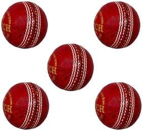 PSE Priya Sports Leather Match Cricket Ball Red Pack of 5 (2Part)