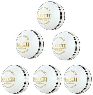 PSE Priya Sports Leather Match Cricket Ball White Pack of 6 (4Part)