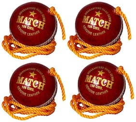 PSE Priya Sports Leather Match Practice Hanging Cricket Ball Red Pack of 4