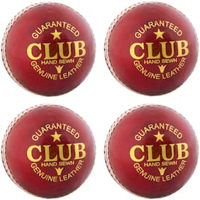 PSE Priya Sports Leather Club Cricket Ball Red Pack of 4 (2Part)