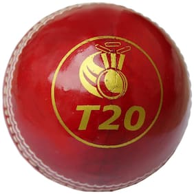 PSE Priya Sports T20 4pc Construction Vegetarian Leather Cricket Ball Red Pack of 1