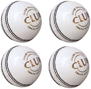 PSE Priya Sports Leather Club Cricket Ball White Pack of 4 (2Part)