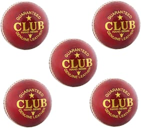 PSE Priya Sports Leather Club Cricket Ball Red Pack of 5 (2Part)