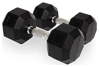 PUSH2FIT Rubber Coated Professional Hex Dumbbells (Set of Two)(40kg)
