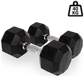 PUSH2FIT Rubber Coated Professional Hex Dumbbells (Set of Two)(20kg)