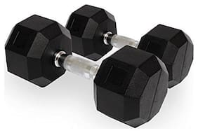 PUSH2FIT Rubber Coated Professional Hex Dumbbells (Set of Two)(15kg)