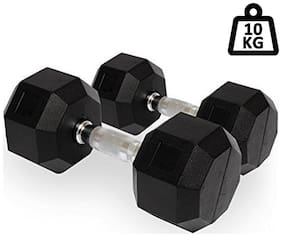 PUSH2FIT Rubber Coated Professional Hex Dumbbells (Set of Two)(5kg)