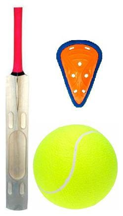 RDS High Power Kashmir Willow Scoop Design Cricket Bat With Tennis Ball And Abdominal Guard