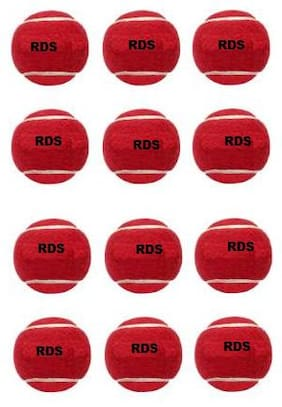 RDS Red Color Light Weight Tennis Cricket Ball ( Pack Of 12 )