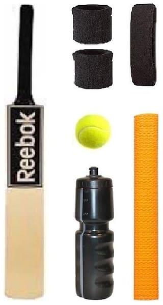 REEBOK Black Sticker Popular Willow Cricket Bat (For Tennis Ball) Size-6 Combo (Kit of 7 Items)