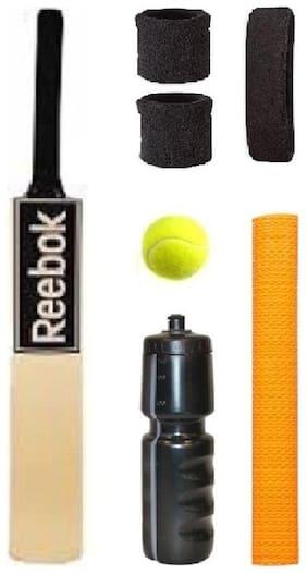 REEBOK Black Sticker Popular Willow Cricket Bat (For Tennis Ball) Size-5 Combo (Kit of 7 Items)