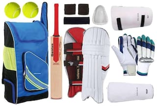 RetailWorld Poplar Willow Cricket Kit For Seniors (Suitable for Tennis Ball Only) - Set of 10 items