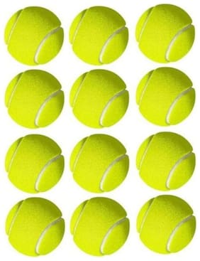 RetailWorld Yellow Cricket Tennis Ball (12 pcs)