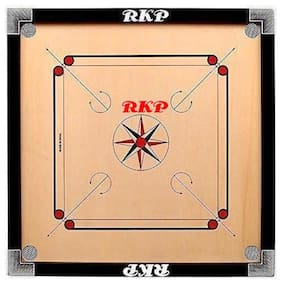 RKP EXPORTS QUALITY  Carrom Board 20 Inch High Gloss Finish with Free Coins, Striker and Powder (Small, 20 Inch)
