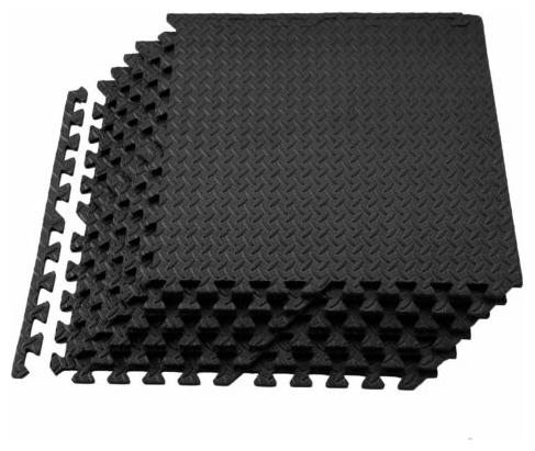 """Rubber Puzzle Mat Gym Fitness Floor Exercise Interlocking Rug Tiles 3//8/"""" Thick"""