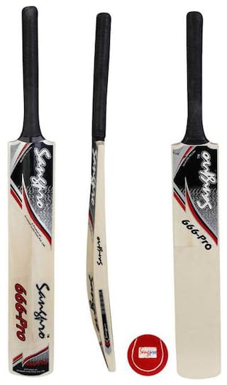 SANGPRO - Selected Willow Cricket Bat - 666 Pro Red (Full size) Free 01 Tennis Ball