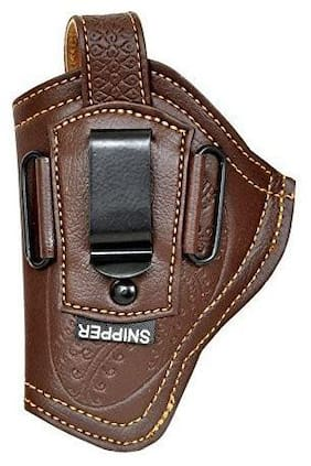 Schieben Leather .32 Bore Engraved Clip Cover Racquet Carry Case/Cover Free Size (Brown)