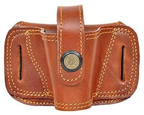 Schieben Leather 9Mm Revolver/Pistol Tan Brown Free Size Belt Holster Racquet Carry Case/Cover Free Size (Brown)