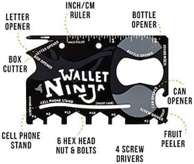 SCORIA Ninja Wallet Tools 18 In 1 Multipurpose Credit Card Size Pocket Tool;Black