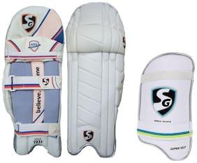 SG Batting Legguard ThighGuard Kit (1 Pair Nylite Legguard + 1 Piece Super Test Right hand Thigh Guard), Men's