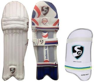 SG Batting Legguard ThighGuard Kit (1 Pair Club Legguard + 1 Piece Super Test Right Hand Thigh Guard), Men's