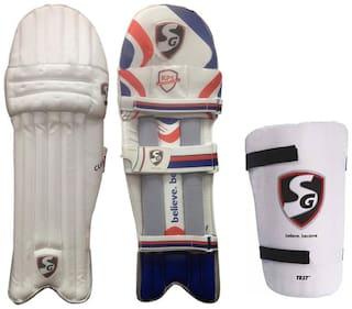 SG Batting Legguard ThighGuard Kit (1 Pair Club Legguard + 1 Piece Test Right Hand Thigh Guard), Boy's