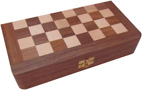 Sheesham Wooden Magnetic Folding Chess Board (10 x 5 inch), King Size:- Ht. 1.75 inch