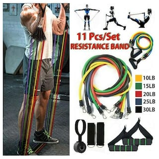 Shopeleven 11 pcs Resistance Band Set with Handles, Portable Toning Tubes with Door Anchor. Bag and Ankle Straps Included Multipurpose