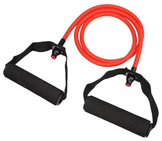 Shopeleven Prefessional Single Toning Tube Exerciser Resistance Band Exercise Cord with Comfort Handles - Color :Assorted (pack of 1)