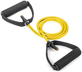 Shopeleven Single Resistance Tube With D Soft Handle for Workout for Women & Men, Exercise Bands for Home and Gym Workouts. Perfect Resistance Band for Exercise and Muscle Building (Pack of 1)-Yellow