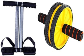 SIDHMART Fitness Tummy Trimmer & Ab Wheel Roller with Mat (Combo) for Core Abdominal Exercise for Chest;Arms;Legs Full Body Stretching Exerciser
