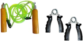 Simran Sports Home Exercise And Fitness Combo Wooden Skipping Rope & Hand Gripper