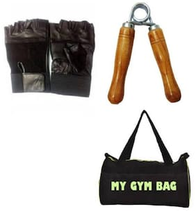 SIXON SPORTS Home Gym Accessories String Bag With 2 Pair OF Gym Gloves