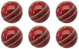 Sixon Sports Cricket Leather Ball  (Pack of 6, Red)
