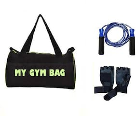 SIXON SPORTS Home Gym Accessories Gym Bag With Foam Skipping Rope, Hand Grip And Gym Gloves