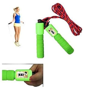 Skipping Rope with Counter Anti Slip Rubber Grip & Adjustable Length Skip Jump Number Count Upto 999 | Color May Vary