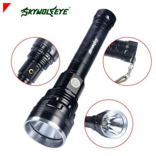 SkyWolfEye Camping Flashlight T6 LED 60000LM Torch Rechargeable 26650 Lamp Light